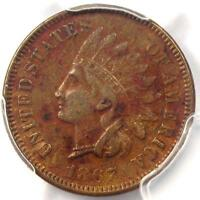 1867 INDIAN CENT 1C - PCGS EXTRA FINE  DETAILS EF -  EARLY DATE CERTIFIED PENNY