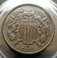 WOW   GORGEOUS EYE APPEAL LY FINE /AU XF /AU 1867 TWO 2C SHIELD PIECE