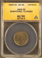 1905 5C LIBERTY CENTS CERTIFIED ANACS AU55