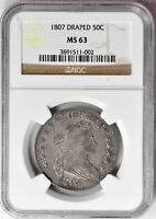 1807 DRAPED BUST 50C NGC MINT STATE 63