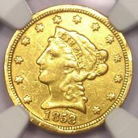 1858 C LIBERTY GOLD QUARTER EAGLE $2.50   NGC XF DETAIL    CHARLOTTE COIN