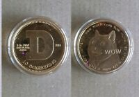PHYSICAL DOGECOIN DOGE 24KT FINE GOLD PLATED AVDP COPPER COIN SHIBE MINT CRYPTO