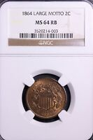 1864 LARGE MOTTO 2 CENT PIECE NGC MINT STATE 64 RB          9-3SNMT