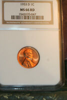 BLAZING SUPERB NGC 1953-D LINCOLN WHEAT CENT MINT STATE 66 RED GEM - SHIPS FREE