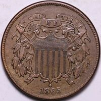 CHOICE AU 1865 2 CENT PIECE K2UNL