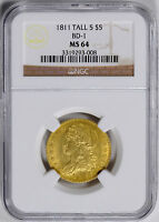 1811 CAPPED BUST $5 NGC MS 64