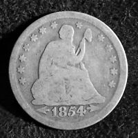 1854 25C ARROWS LIBERTY SEATED QUARTER