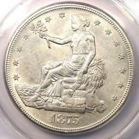 1875 S TRADE SILVER DOLLAR T$1   ANACS AU55 DETAILS    COIN   NEAR UNC MS