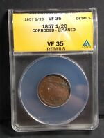 1857 BRAIDED HALF EARLY COPPER HALF CENT ANACS  FINE 35 VF35 DETAILS