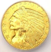 1909 INDIAN GOLD HALF EAGLE $5 COIN   CERTIFIED ICG MS64   $2 720 VALUE