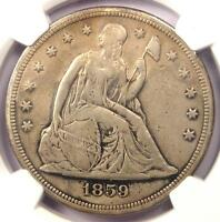 1859 S SEATED LIBERTY SILVER DOLLAR $1   NGC VF DETAILS