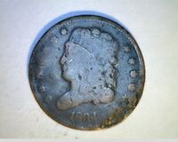 1834 US HALF CENT,  AVERAGE CIR GRADE COPPER,  US-129