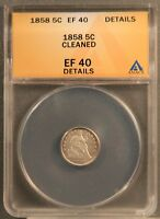 1858 H10C SEATED LIBERTY HALF DIME CERTIFIED ANACS EF40 / EXTRA FINE 40