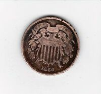 1864 TWO CENT COPPER--  SHIPS FREE