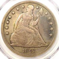 1847 SEATED LIBERTY SILVER DOLLAR $1 - PCGS VF DETAILS -  CERTIFIED COIN