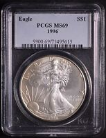 1996 AMERICAN SILVER EAGLE PCGS MINT STATE 69 KEY DATE