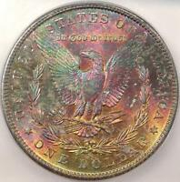 1881-S MORGAN SILVER DOLLAR - ICG MINT STATE 62 - MONSTER RAINBOW TONE