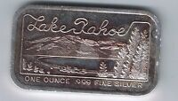 LAKE TAHOE NEVADA 1 OUNCE SILVER ART BAR ONE OZ SILVER TOWNE MINT