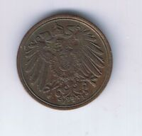 1894 F GERMAN EMPIRE 1 PFENNIG COIN GERMAN CENT ABOUT UNCIRCULATED AU NICE