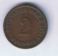 1874 B GERMAN EMPIRE 2 PFENNIG COIN GERMAN CENT  NICE