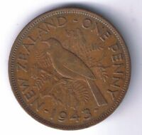 1943 NEW ZEALAND 1 PENNY COIN ONE PENCE CENT NZ WORLD WAR TWO WWII WW2 RELIC