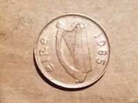 1985 IRELAND 1 PENNY IRISH HARP PEACOCK BIRD ANIMAL COIN PENCE SOUVENIR NICE