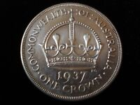 AUSTRALIAN 1937 CROWN STERLING SILVER COIN LUSTER HIGH GRADE