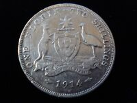AUSTRALIA 1914 H FLORIN STERLING SILVER COIN ADVANCE AUSTRAL