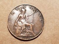 1906 GREAT BRITAIN 1 FARTHING COIN BRITISH UNITED KINGDOM UK ENGLISH NICE