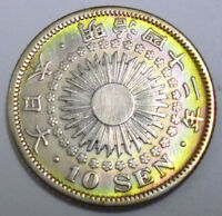 JAPAN SILVER COIN RISING SUN 10SEN 1909   MEIJI 42   TONED