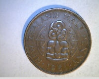 1951  NEW ZEALAND ONE HALF PENNY HIGH GRADE BRONZE  NZ 73