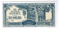 1942 JAPANESE OCCUPIED MALAYA $10 TEN DOLLARS P M7A WORLD WAR TWO RELIC CU UNC