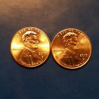 2017 BU P AND D LINCOLN SHIELD CENTS  1 EACH FROM MINT ROLLS