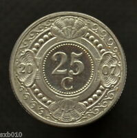 NETHERLANDS ANTILLES 25 CENTS. KM35. UNCIRCULATED. PLANTS COIN. RANDOM AGE.
