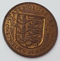 DATED 1946   ISLAND OF JERSEY   ONE TWELFTH OF A SHILLING COIN   KING GEORGE VI