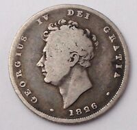 DATED : 1826   SILVER COIN   ONE SHILLING   KING GEORGE IV   GREAT BRITAIN
