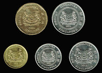 SINGAPORE: 5 DIFFERENT 4TH. SERIES NEW REVERSE 2000'S CIRCULATION COINS AP6168