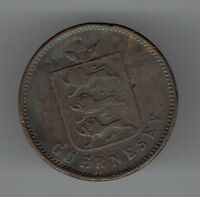 GUERNSEY 1830 FOUR DOUBLES COPPER COIN