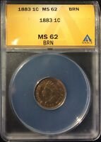 1883 1C INDIAN HEAD CENT CERTIFIED MS 62 BRN