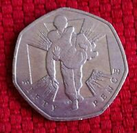 50 PENCE HEROIC ACTS COMMEMORATION/SOLDIER CARRYING WOUNDED SOLDIER  COIN