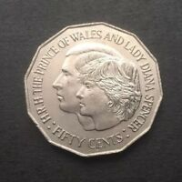 1981 AUSTRALIAN 50 CENT COIN   ROYAL WEDDING H.R.H PRINCE OF WALES & LADY DIANA