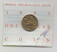 1993 $1 UNC 'M' MINT MARK COIN. ROYAL MELBOURNE SHOW ISSUE IN RAM FOLDER