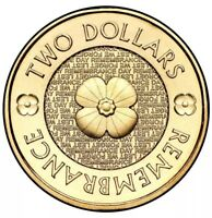 2012 AUSTRALIAN $2 TWO DOLLAR COIN   REMEMBRANCE POPPY