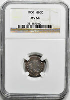 1800 DRAPED BUST H10C NGC MINT STATE 64