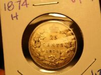 CANADA SILVER 25 CENT::1874::GREAT DETAIL::VERY FINE PLUS