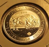 CANADA  2016 1 1/4  OZ  9999 SILVER  BISON  DESIGN :: 8.00 FACE VALUE