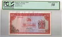 1970 RHODESIA $2 BILL RHODESIAN TWO DOLLARS NOTE PCGS CHOICE ABOUT NEW 58 AU