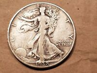 1938 D WALKING LIBERTY HALF DOLLAR 50 CENTS SILVER COIN FIFTY 1/2 VF FINE