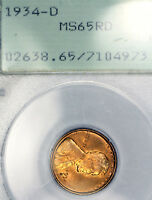 1934-D MINT STATE 65 RD RED LINCOLN WHEAT CENT 1C PENNY GRADED BY PCGS IN OLD RATTLER
