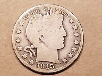 1915 S BARBER HALF DOLLAR 90  SILVER 50 CENT COIN 1/2 $1 FIFTY CENT NICE